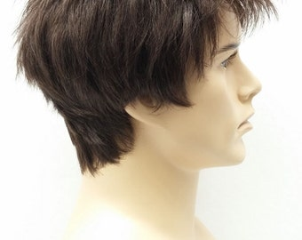 Brown Short Spiky Style Men's Wig. Synthetic Costume Fashion Wig. [54-291-Spike-6]