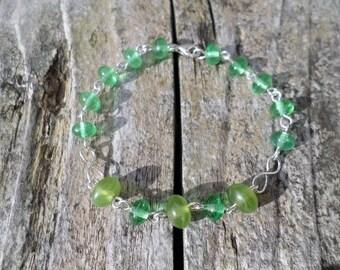 Green Czech Rondelle Beads Sterling Silver Wire Bracelet