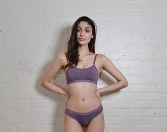 Sports Bra/Bralette with Mesh in Purple- PAST SEASON