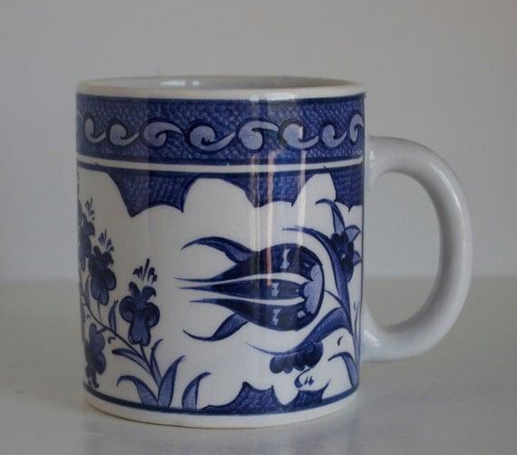 Floral Design Handmade Blue and White Ceramic Coffee Mug, Pottery Tea Mug, Hand Painted Coffee Mug, Stoneware Coffee Mug, Blue Tea Mug,