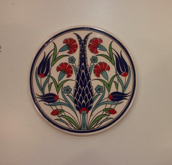 Large Tile, Blue Red White Floral Coaster, Hand Made Ceramic Tile, Blue Red Wall Hanging Tile, Traditional Turkish Ceramics, Iznik Design