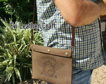 Limitless Leather men's bag, pyrography, hand stitch, mens clutch, iPad mini messenger bag, brown handbag, handmade bag, unique gift cowhide