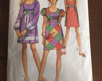 Vintage 60s Mini Dress Pattern - Simplicity Pattern 8639 Empire Waist Misses Junior Teens Dress Size 10