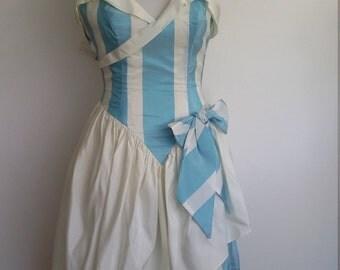 Princess dress, fairytale dress, prom dress, cosplay dress, XXS, sky blue dress, striped dress, formal dress, strapless prom dress