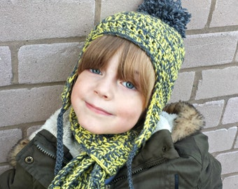 Yellow and grey hat and scarf set - JANUARY SALE