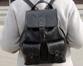 "Black leather backpack ""Anthracite"""