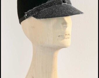Black-grey felt cap,kepi,military style women's black cap with peak, wool felt hat,street style.