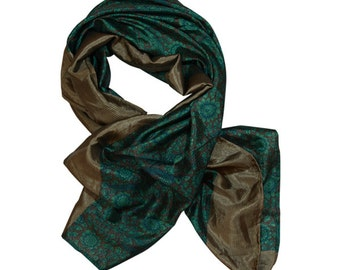"Soft brown and jade green floral patterned scarf / wrap - ""Mara - Jade"""