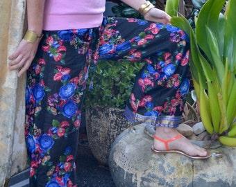 Black pyjamas / lounge pants / pajamas with blue roses and gold trim