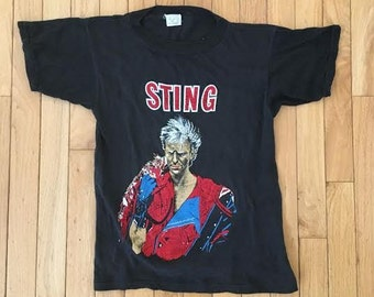 Vintage 80s Sting Tee 1984 POLICE deadstock NOS XS