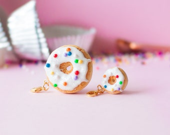 Donut Charm with Vanilla Icing + Color Sprinkles