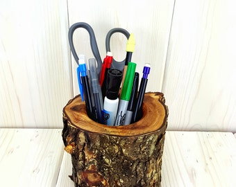 Desk Organizer Rustic Wood Log Pencil Holder - Elm