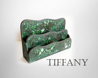Tiffany letter holder in Grapevine design with green slag glass