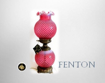 Fenton GWTW opalescent cranberry hobnail table lamp with tags