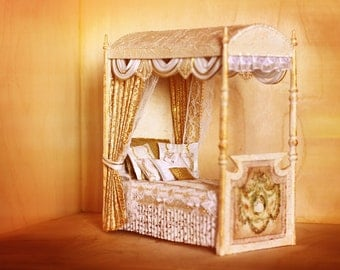 miniature doll bed, Miniature canopy bed 1/12 , Dollhouse Miniature, miniature furniture, Diorama, Luxury Canopy Bed, 1 12 bedroom