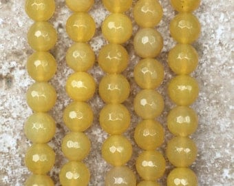"""Faceted Agate Beads - 8mm smooth round Honey Yellow Agate Beads, FULL 16"""" strand (about 48 beads)- G968"""