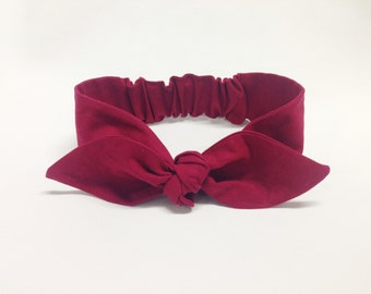 "Cranberry Knot headband, Womens Headband, Adult Headband, Headband for Women, Girl Headband, Bow Headband, Girl, Women, Headband, ""Berry"""""