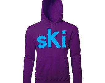 Large Ski Print Mens Winter Ski Snowboard Season Retro Slogan Printed Hoodie