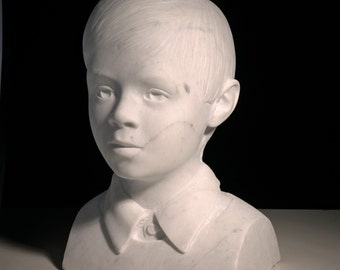 Custom portrait sculpture carved in marble, hand carved