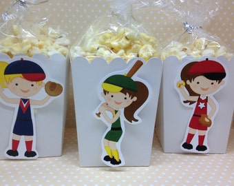 Girls Softball Party Popcorn or Favor Boxes