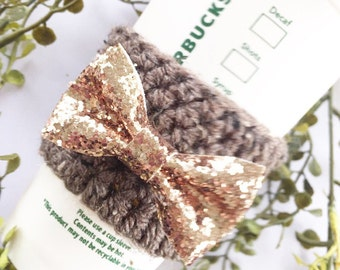 Rose Gold Bow // Coffee Cozy