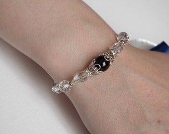 Black Pearl Bracelet Bridesmaid Jewelry Glass Pearl Bracele Wedding Bracelet Swarovski Pearl Jewelry Delicate Bracelet Bridesmaid Gift