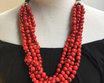 Red Acai Necklace, Beaded Necklace, Acai Collar Necklace, Eco friendly Necklace BN001342