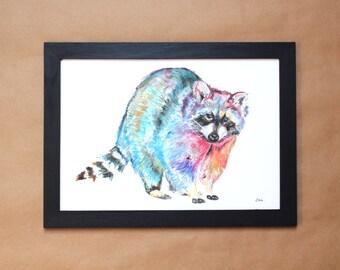 Watercolour Raccoon Print ~ raccoon print, raccoon art, animal art, raccoon watercolour, raccoon illustration, giclee print, wall art