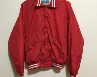 Vtg red nylon coach jacket bomber jacket