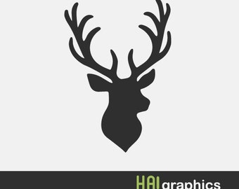 SVG and DXF File -Deer, Deer Head, Antlers, Tribal, Silhouettes, Clipart, Vector, Instant Download