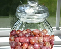 Hand Made Ribbed Glass Jar Vintage Onion Jar with Lid Biscotti Jar Round Lidded Jar Shabby Chic Country Decor
