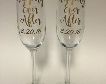 Happily Ever After Disney inspired wedding champagne glasses set Mickey Mouse
