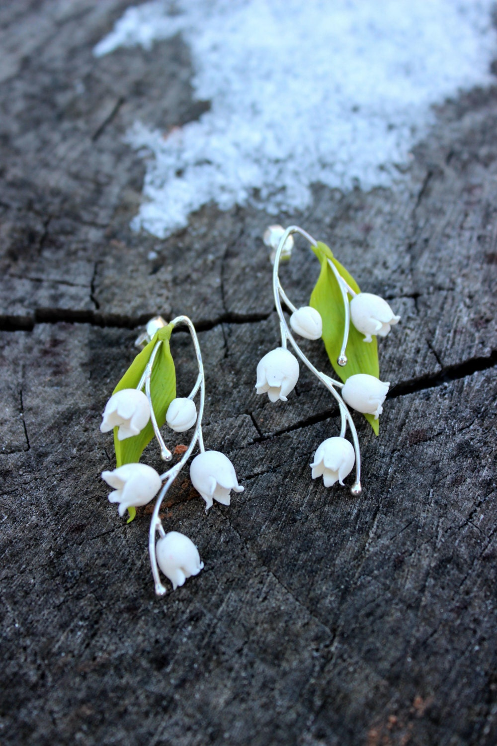 Free Shipping Lily Of The Valley Cold Porcelain Earrings