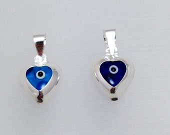 Evil Eye Pendant Necklace, Silver Heart Pendant Necklace, Blue Evil Eye Silver Pendant, Evil Eye Charm, Evil Eye Jewelry