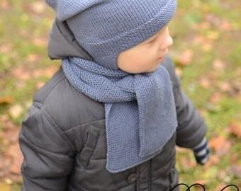 Children's Knitted Scarf, Merino Wool Toddler Scarf, Knitted Long Scarf, Boys Knit Scarf, Girls Winter Scarf, Kids Warm Scarf