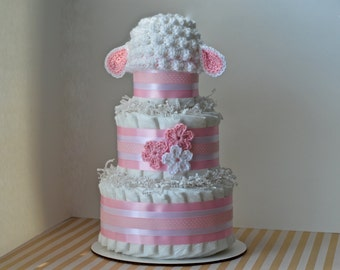 Girl Diaper Cake, Lamb Baby Shower Decorations, Centerpiece, Lamb Baby Shower, Unique Baby Girl Gift, New Baby Gift, with Crochet Lamb Hat