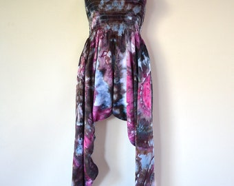 Ice Dyed Tie Dyed Harem Pants/Jumpsuit Black & Pink Geodes Design