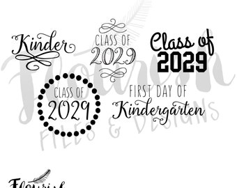 Kindergarten Class of 2029 Digital Cut Files (SVG, PNG, PDF) | Digital Clipart Kinder Class of 2029 Flourish Script