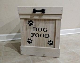 Dog Food Container, Pet Food Storage, Storage Container, Cat Food Bin, Wood Container, Dog Food Storage, Doggie Bone Handle, Pet Storage