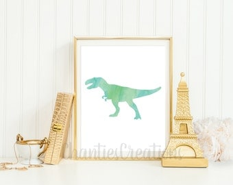 Tyrannosaurus Rex Watercolor Wall Art Printable. Dinosaur Watercolor Wall Art Printable. Boys Room Dinosaur Wall Art.