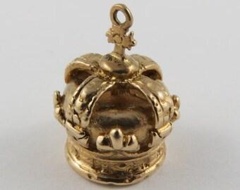 King's Crown 10K Gold Vintage Charm For Bracelet