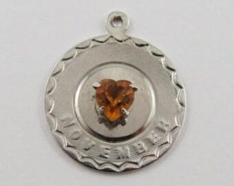 November Heart Birthstone Sterling Silver Vintage Charm For Bracelet