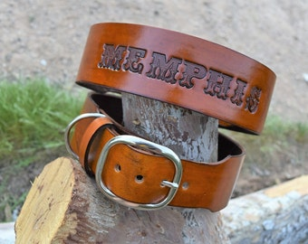 Handsome Leather Dog Collar (1.5 inch collar,1 inch collar,tooled leather dog collar,personalized dog collar)The Diamond Dogs