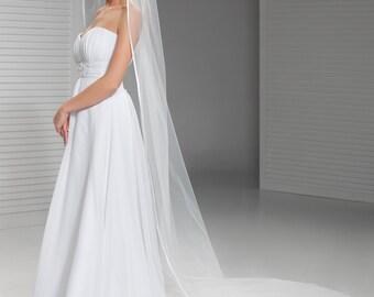Cathedral Soutache Edge Bridal Veil, Ribbon Edge Wedding Veil | Simple Cathedral Veil