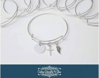 CUSTOM memorial name charm bangle bracelets!