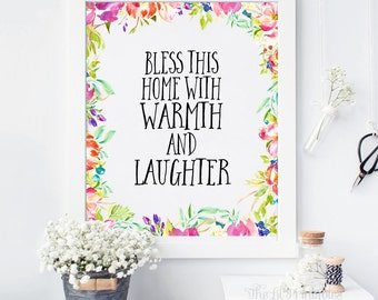 Bless This Home With Warmth and Laughter, Bless This Home, Home Blessing, House Blessing, Home Sign, House Sign, Blessing Print, House Gift