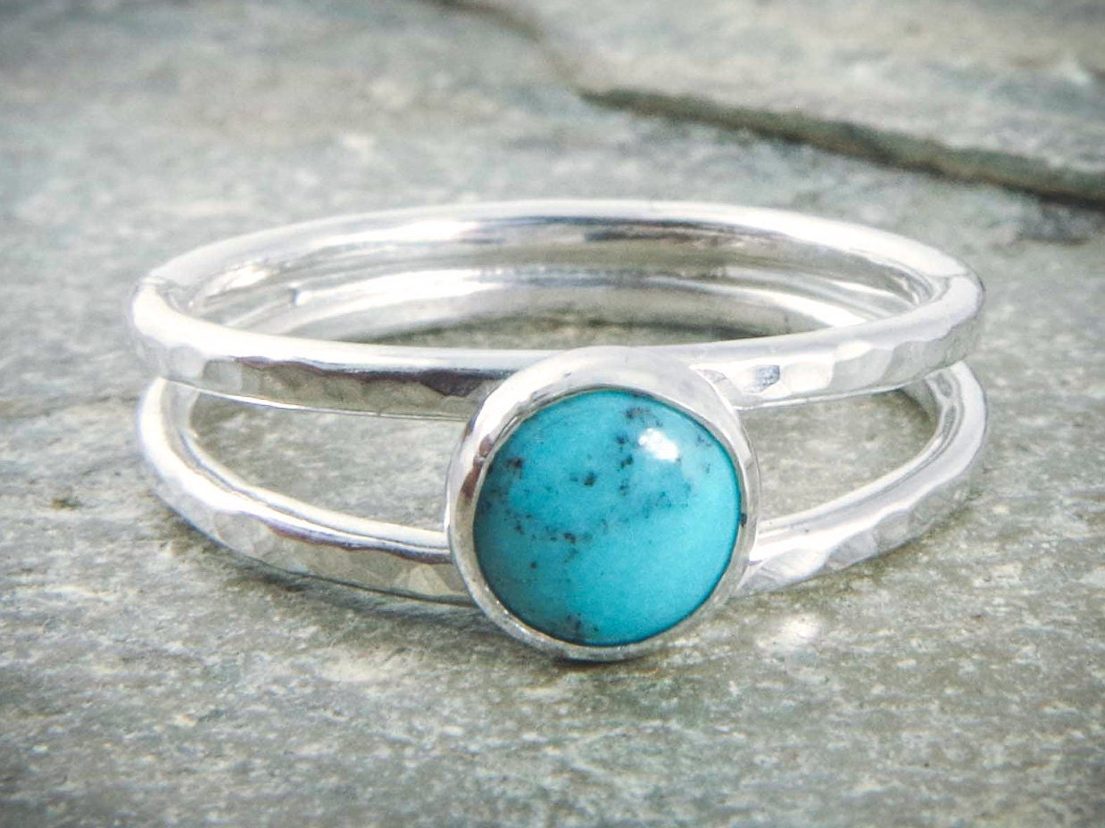 turquoise silver ring blue dainty thin band hammered