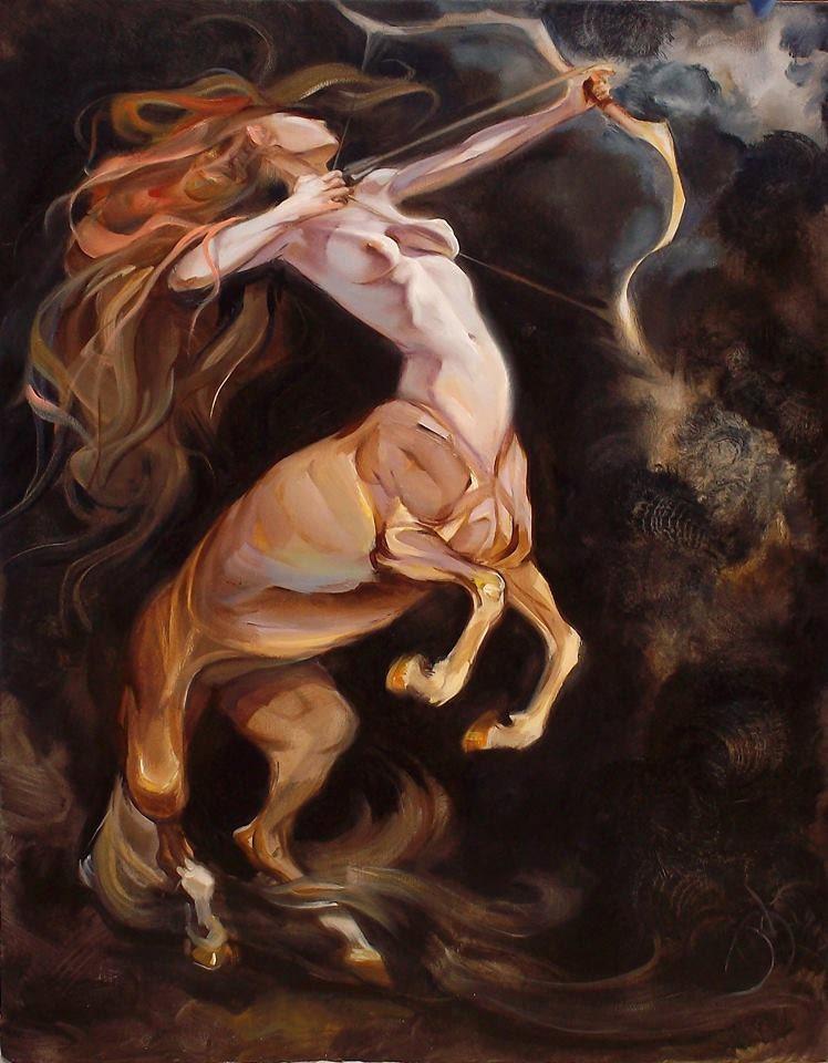 oil painting original sagittarius zodiacal painting centaur