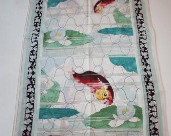 Vintage NYC Museum Silk Scarf: Koi Fish, Floral Border from Metropolitan Museum of Art