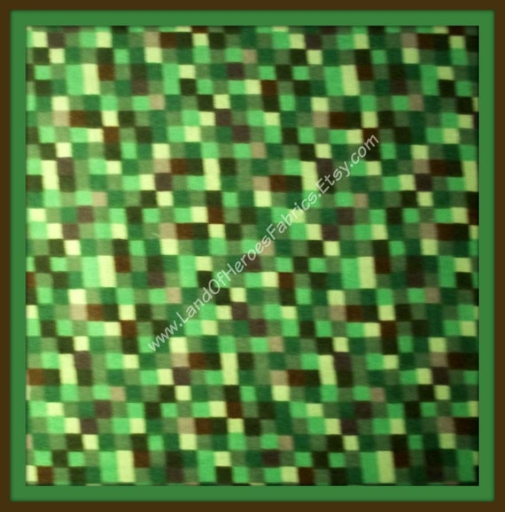 N0w 0ut 0f print 8 bit green flannel fabric not a for Minecraft fabric by the yard